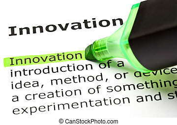 evidenziato, 'innovation', verde