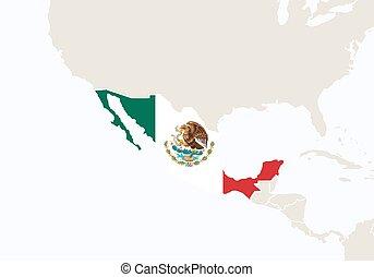 evidenziato, map., america, messico centrale