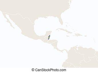 evidenziato, map., belize, america centrale