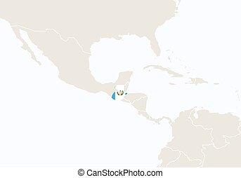 evidenziato, map., guatemala, america, centrale