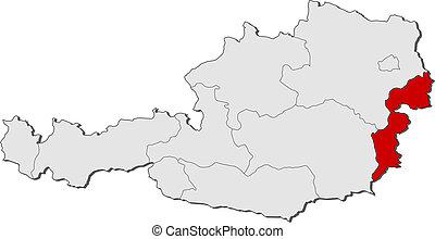 evidenziato, mappa, burgenland, austria