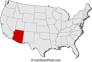evidenziato, mappa, unito, arizona, stati