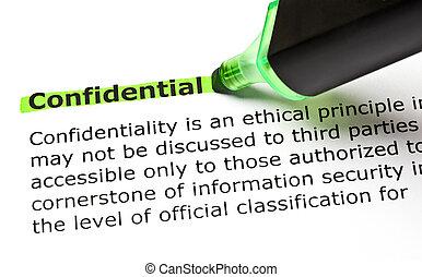 evidenziato, verde, confidenziale
