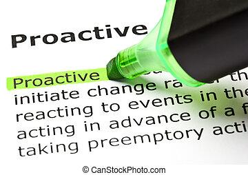 evidenziato, verde, 'proactive'