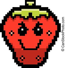 Evil 8-Bit Cartoon Strawberry - An illustration of a...