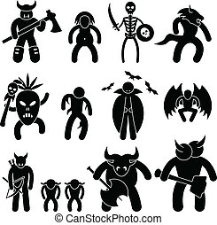 Evil Ancient Warrior Character - A set of pictogram...