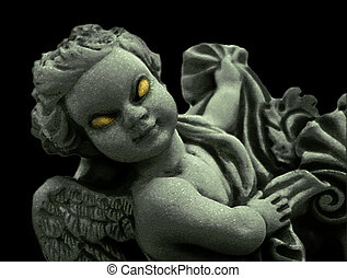 Evil Angel - Manipulated marble sculpture of an angel with...