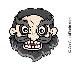 Evil Beard Face - Cartoon Character