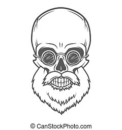 Evil Bearded Jolly Roger with glasses logo template. Old...