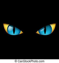 Evil Blue Eye. Illustration on black background.