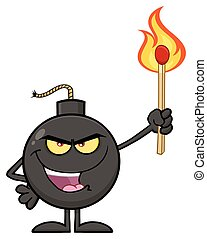 Evil Bomb Cartoon Mascot Character Holding Up A Flaming Match