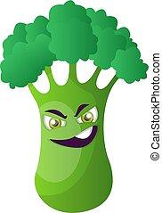 Evil broccoli illustration vector on white background