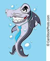 Evil Business Cartoon Shark