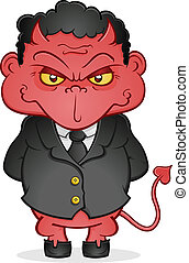 Evil Business Devil Cartoon Charact - An evil, shifty eyed...
