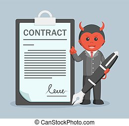 evil business man holding giant pen offering contract