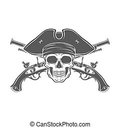 Evil captain skull in cocked hat vector. Jolly Roger logo...