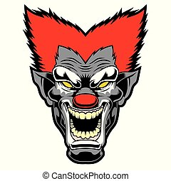 Evil cartoon clown illustration.