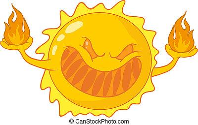 Evil cartoon sun - caricature of sunburn, sunstroke, harmful...
