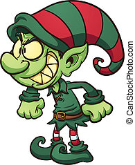 Evil Christmas elf. Vector clip art illustration with simple...