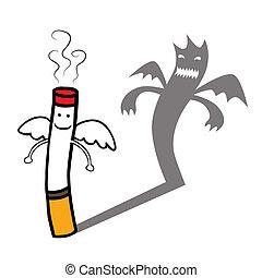 Evil cigarette character - Represent a smiling good innocent...