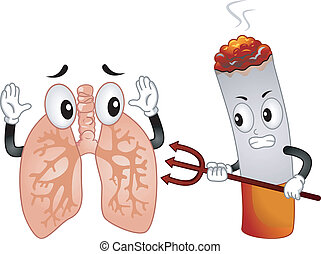 Evil Cigarette Mascot - Mascot Illustration Featuring an...