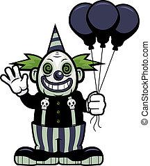 Evil Clown - A cartoon evil clown waving with balloons.