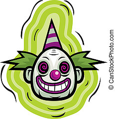 Evil Clown - A cartoon evil looking clown smiling.
