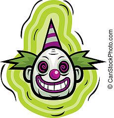 Evil Clown - A cartoon evil looking clown smiling.