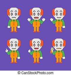 Evil clown character in various poses. Halloween character