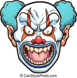 Evil clown - Evil cartoon clown head. Vector clip art...
