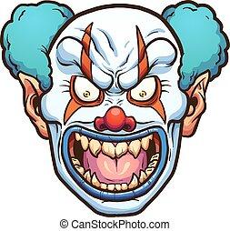 Evil clown - Evil cartoon clown head. Vector clip art ...
