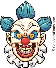 Evil clown - Evil cartoon clown. Vector clip art ...