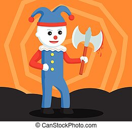 evil clown holding bloody axe