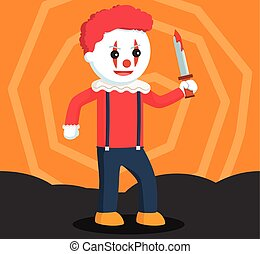 evil clown holding bloody knife