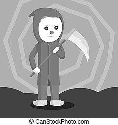 Evil clown holding scythe