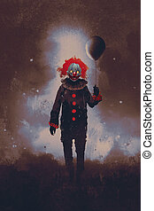 evil clown, illustration painting - evil clown standing with...