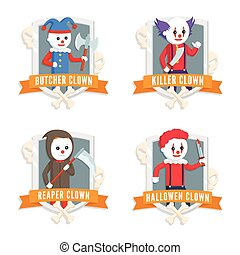 evil clown logo set