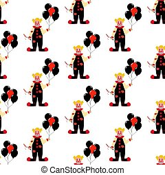 Evil clown seamless pattern
