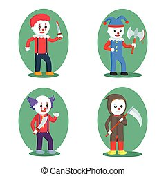 evil clown set illustration design