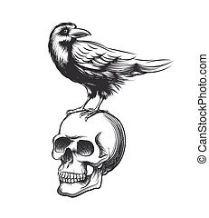 Evil crow hand drawn vector illustration. Black raven devil on skull isolated white background