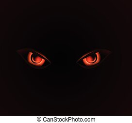 evil dangerus eyes on black background