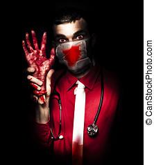 Evil Dark Medical Surgeon Waving Amputated Hand - Creepy...