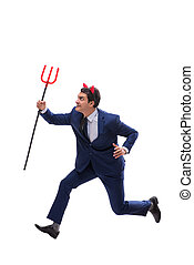 Evil devil businessman with pitchfork isolated on white...