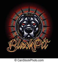 Evil dog pit bull head mascot