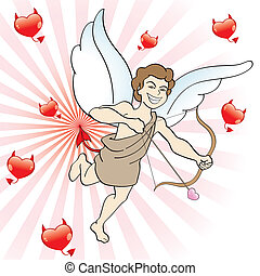 evil eros points his bow and arrow with evil hearts, vector...