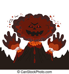 Evil erupting volcano