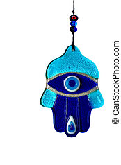 Traditional Evil eye hand of amulet with isolated white background