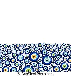 Evil eye vector pattern. - Turkish eye bead background.