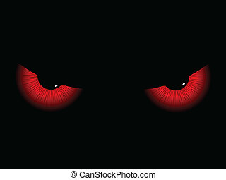 Red evil eyes on a black background