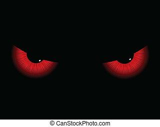 Evil eyes - Red evil eyes on a black background